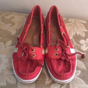 Coach monogram RED jacquard Loafers SZ 8